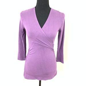 Boden Purple Wrap Top Blouse Size 4
